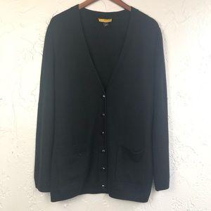 St. John Black Cashmere blend cardigan M
